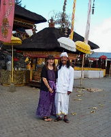 Nola with priest of Batur Temple, Bali